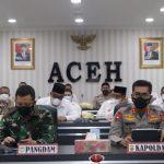 Persiapan Pengamanan Idul Fitri 1442 H, Kapolda Aceh Bersama Pangdam IM Ikuti Rakor Lintas Sektoral